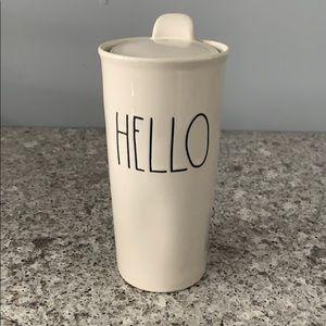 Rae Dunn HELLO Tall Ceramic Insulated Travel Cup